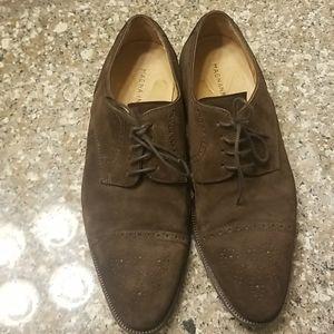 Magnanni oxford/derby brown suede dress shoes